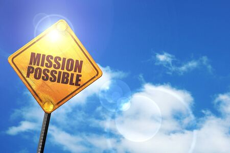 business change: mission possible: yellow road sign with a blue sky and white clouds