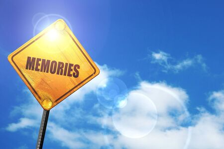 amnesia: memories: yellow road sign with a blue sky and white clouds