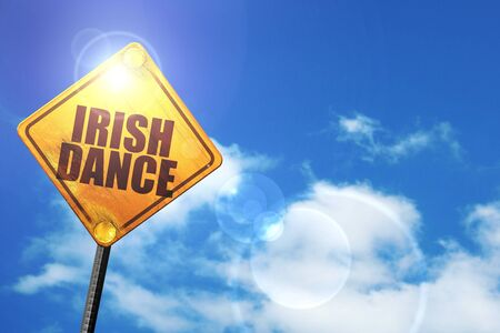 triskel: irish dance: yellow road sign with a blue sky and white clouds