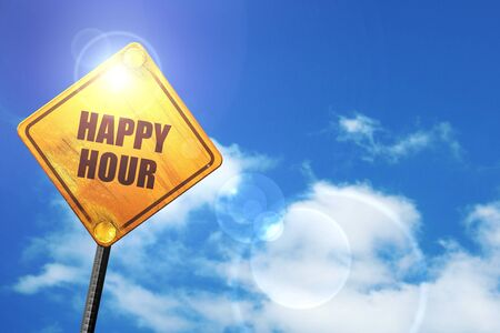 happy hour: yellow road sign with a blue sky and white clouds Stock Photo