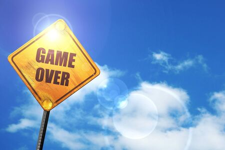 unsuccess: game over: yellow road sign with a blue sky and white clouds
