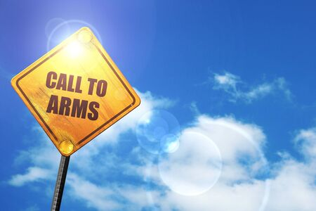 desertion: call to arms: yellow road sign with a blue sky and white clouds Stock Photo