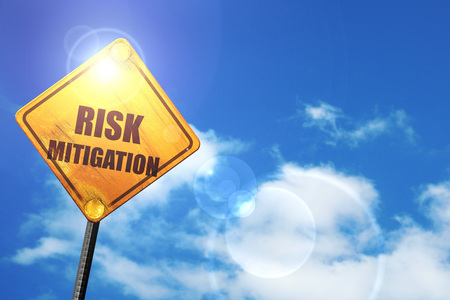 mitigating: Risk mitigation sign with some smooth lines and highlights: yellow road sign with a blue sky and white clouds Stock Photo
