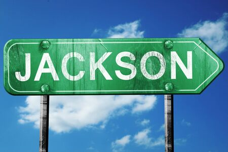 jackson: jackson road sign on a blue sky background