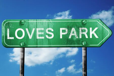 loves: loves park road sign on a blue sky background Stock Photo