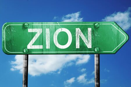 zion: zion road sign on a blue sky background Stock Photo