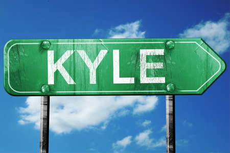 kyle: kyle road sign on a blue sky background