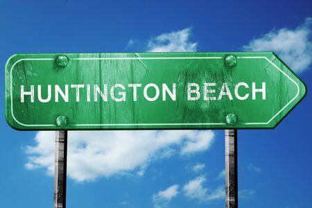 huntington beach: huntington beach road sign on a blue sky background
