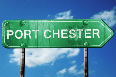 port: port chester road sign on a blue sky background