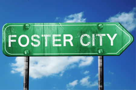 wooden board: foster city road sign on a blue sky background
