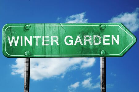 winter garden: winter garden road sign on a blue sky background Stock Photo