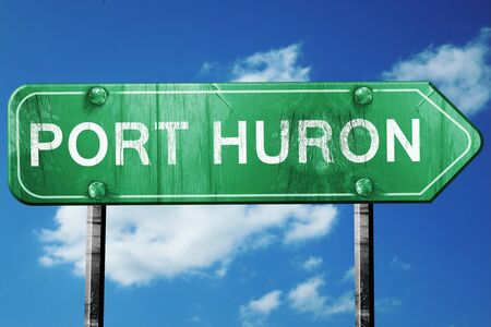 port: port huron road sign on a blue sky background