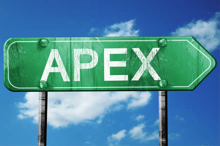apex: apex road sign on a blue sky background