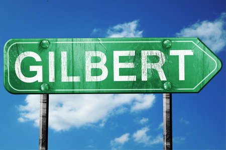 gilbert: gilbert road sign on a blue sky background