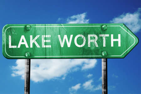 worth: lake worth road sign on a blue sky background Stock Photo