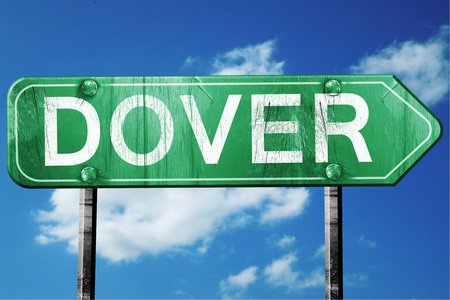 dover: dover road sign on a blue sky background