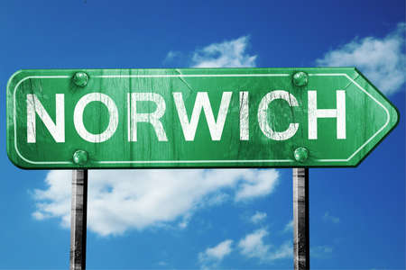 norwich road sign on a blue sky background