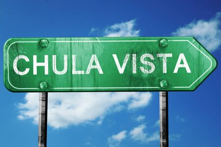 vista: chula vista road sign on a blue sky background