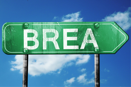 brea: brea road sign on a blue sky background