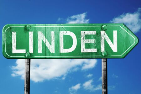 linden: linden road sign on a blue sky background Stock Photo
