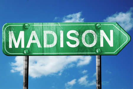 madison: madison road sign on a blue sky background Stock Photo