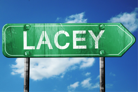 lacey: lacey road sign on a blue sky background