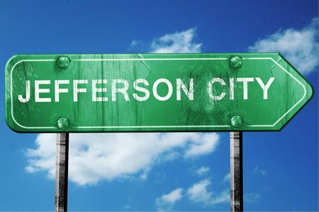 jefferson: jefferson city road sign on a blue sky background