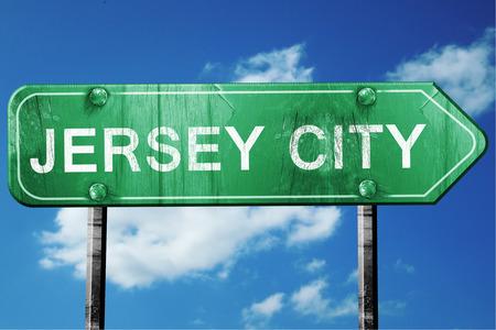 jersey city: jersey city road sign on a blue sky background