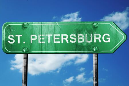 st petersburg: st. petersburg road sign on a blue sky background Stock Photo