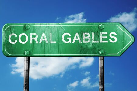 gables: coral gables road sign on a blue sky background