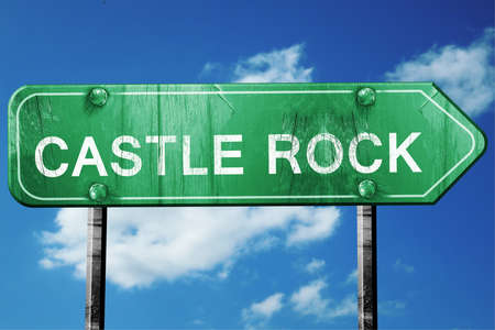 castle rock: castle rock road sign on a blue sky background