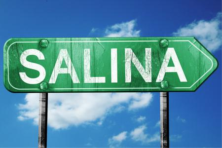salina: salina road sign on a blue sky background