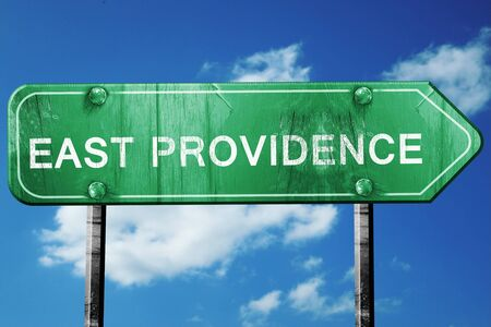 providence: east providence road sign on a blue sky background