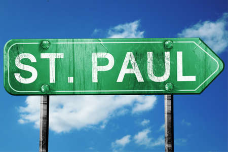 paul: st. paul road sign on a blue sky background
