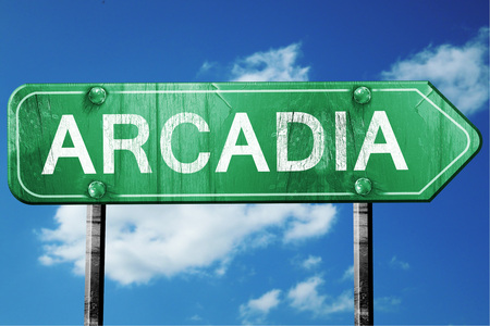 and arcadia: arcadia road sign on a blue sky background Stock Photo