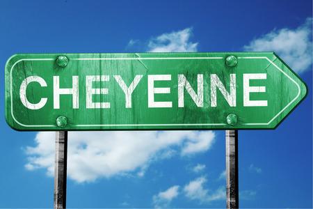 cheyenne: cheyenne road sign on a blue sky background
