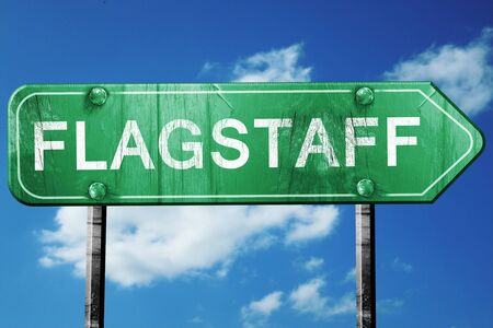flagstaff: flagstaff road sign on a blue sky background Stock Photo