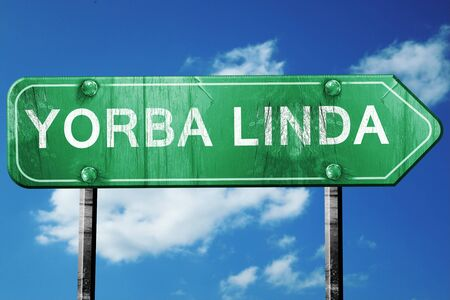 linda: yorba linda road sign on a blue sky background