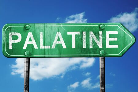 palatine: palatine road sign on a blue sky background Stock Photo