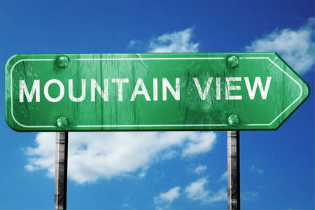 mountain view: mountain view road sign on a blue sky background