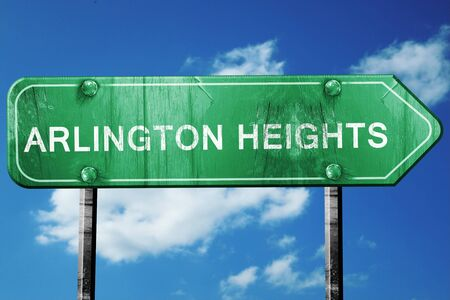 heights: arlington heights road sign on a blue sky background