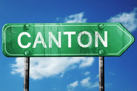 canton: canton road sign on a blue sky background Stock Photo