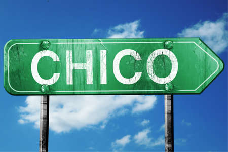 chico road sign on a blue sky background
