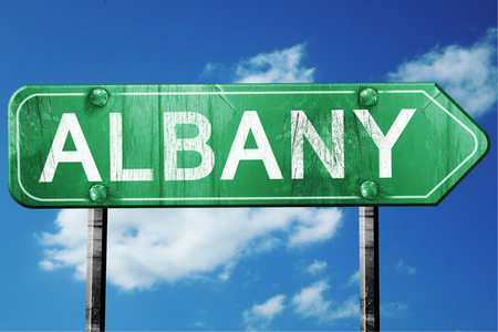 albany: albany road sign on a blue sky background Stock Photo