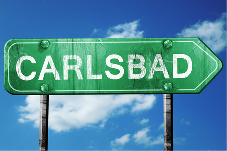 carlsbad: carlsbad road sign on a blue sky background Stock Photo