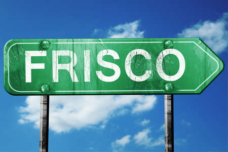 frisco: frisco road sign on a blue sky background