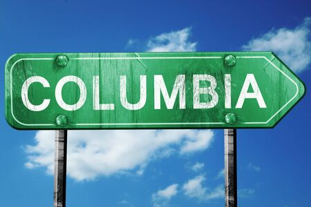 columbia: columbia road sign on a blue sky background