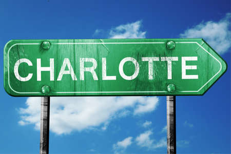 charlotte: charlotte road sign on a blue sky background Stock Photo