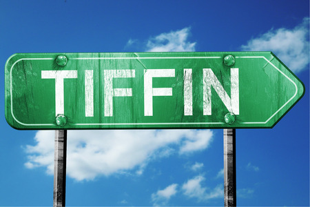 tiffin: tiffin road sign on a blue sky background