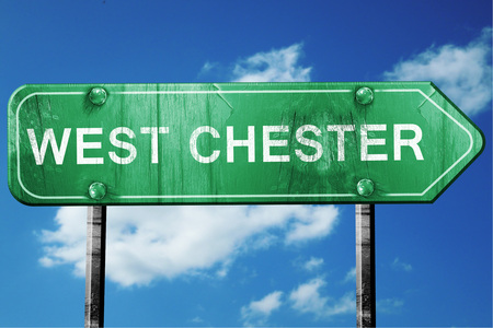 chester: west chester road sign on a blue sky background